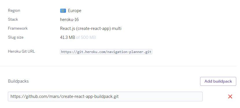 Dashboard Settings Heroku react-create-app
