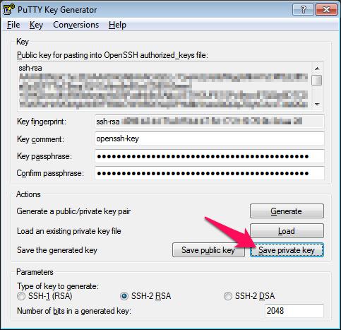 Export de clé privée (.ppk) sur PuttyGen