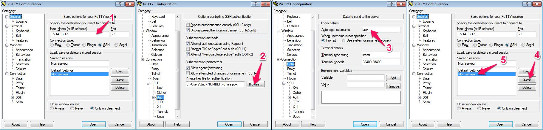 Configuration de Putty pour une connexion SSH